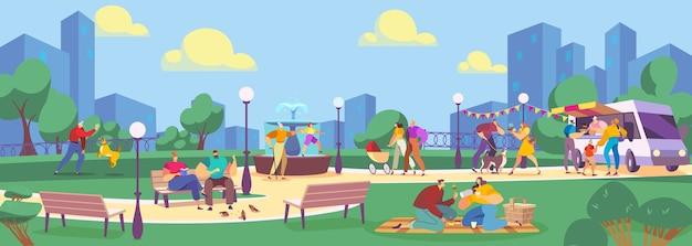 여름 공원 평면 벡터 일러스트 레이 션에있는 사람들. 만화 가족 캐릭터는 공공 공원에서 시간을 보내고, 푸드 트럭 카페에서 길거리 음식을 먹고, 강아지와 놀고