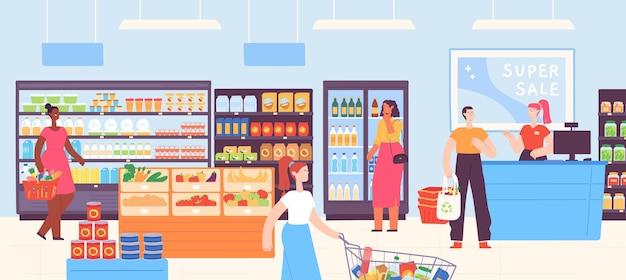 スーパーマーケットの人々。レジ係のある食料品店のインテリアと、カートやバスケットで食べ物を買う顧客。漫画モールストアベクトルの概念。イラストレジ係と購入者