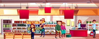 People in supermarket or grocery store illustration. Family choosing food products