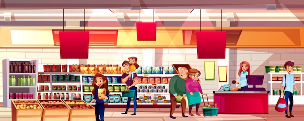 슈퍼마켓이나 식료품 점 그림에서 사람들. 식품을 선택하는 가족