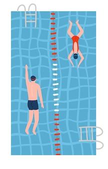 プールで泳いでいる水着の人々上面図フラット
