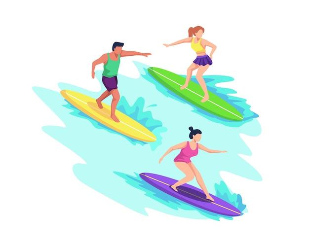바다 또는 바다에서 서핑하는 수영복을 입은 사람들, 파도 타기, 서핑 보드로 수영. 해변에서 여름 스포츠 및 레저 야외 활동. 플랫 스타일로