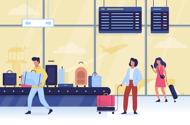 空港の人々。旅行と観光のアイデア。スーツケース
