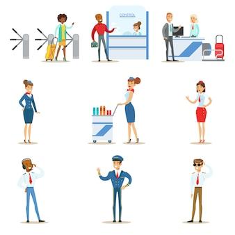 Люди в салоне аэропорта, проходящие регистрацию на рейс и паспортный контроль, а также авиационные профессиональные пилоты и бортпроводники