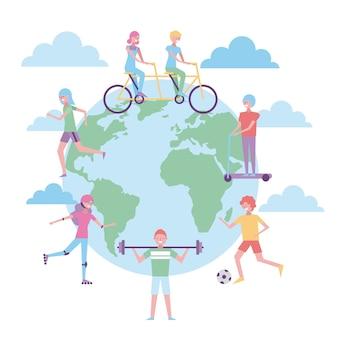 世界各地の人々が運動活動をしている