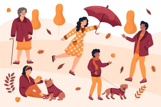 가을 공원 컬렉션에있는 사람들