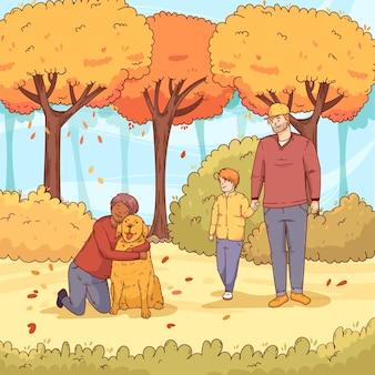 秋の公園のコンセプトの人々