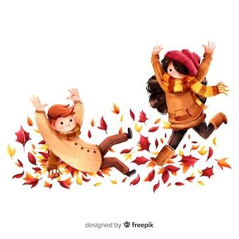 楽しい秋の公園の人々