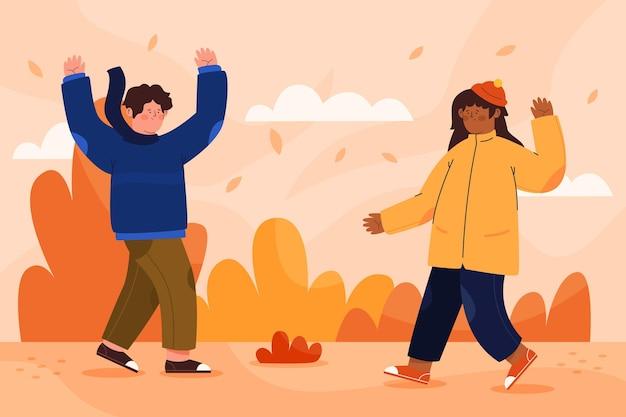 秋の公園のイラストの人々