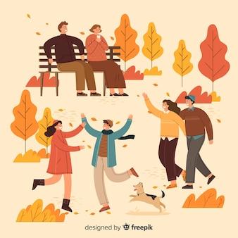 가을 공원 그림 사람들