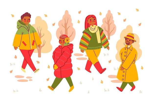 가을 공원 세트 사람들