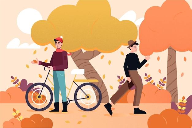 自転車で秋の公園の人々