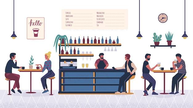 Люди в баре-кафе
