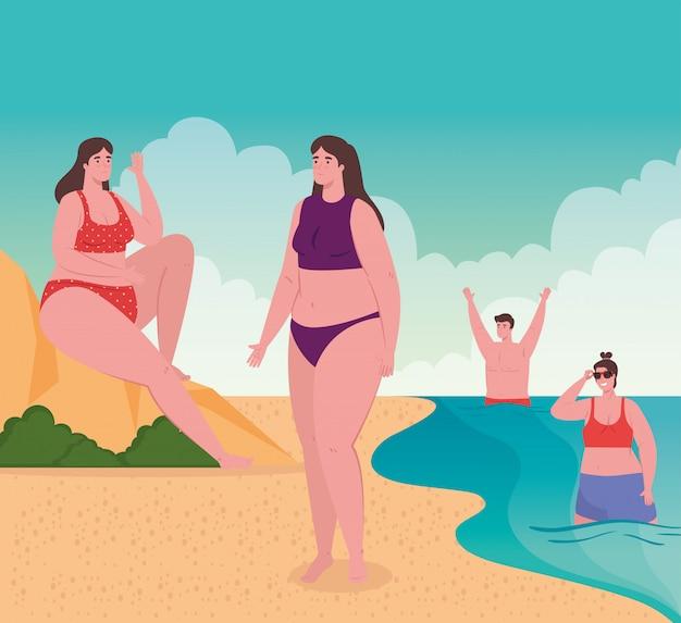 해변에서 사람들, 휴가, 여름 시즌 벡터 일러스트 레이 션 디자인에 행복 한 젊은 사람들