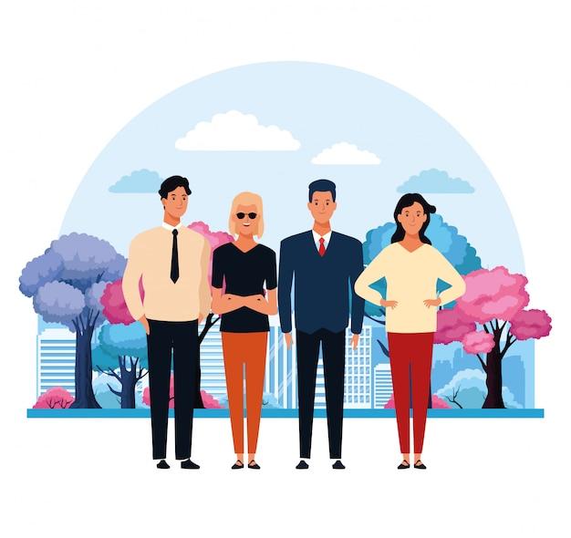 Люди в городском парке