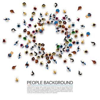 シンボルプラスの形でヒープ内の人々。ベクトルイラスト