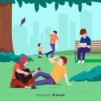 자유 시간 동안 공원에있는 사람들