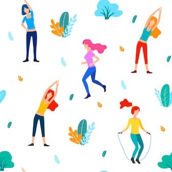 公園の人々はフラットなイラストをベクトルします。女性はスポーツ、体操を行います。女性のフィットネスのシームレスなパターン。トレーニングの女の子。機器を取り付けます。スポーツとヘルスケアのチラシテンプレート。ジムのデザイン。