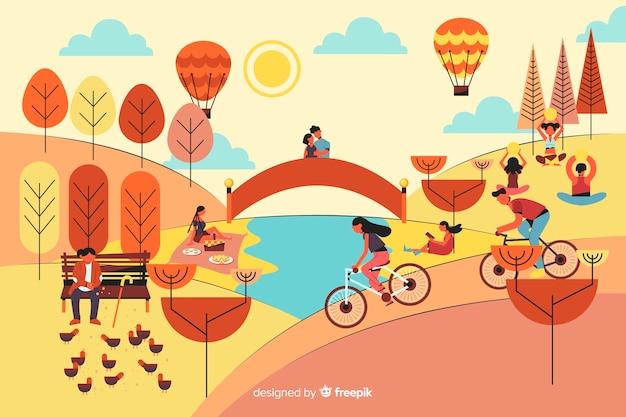 熱気球を持つ公園の人々