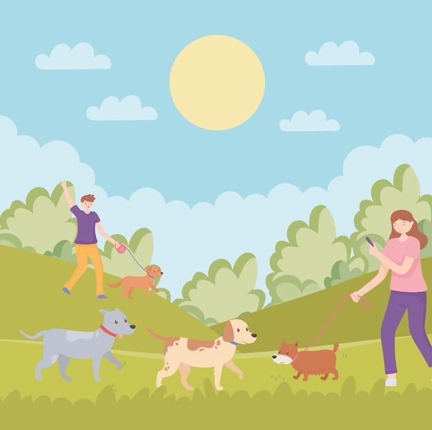애완 동물과 함께 공원에 있는 사람들