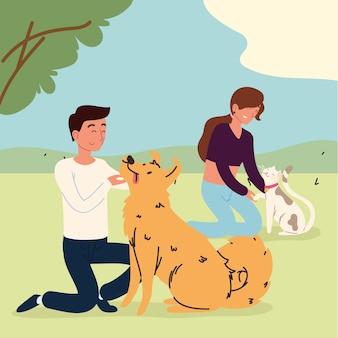 ペットと一緒に公園にいる人