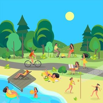 公共の公園の人々。楽しいこと、スポーツをすること、都市公園で休むこと。夏のアクティビティ。