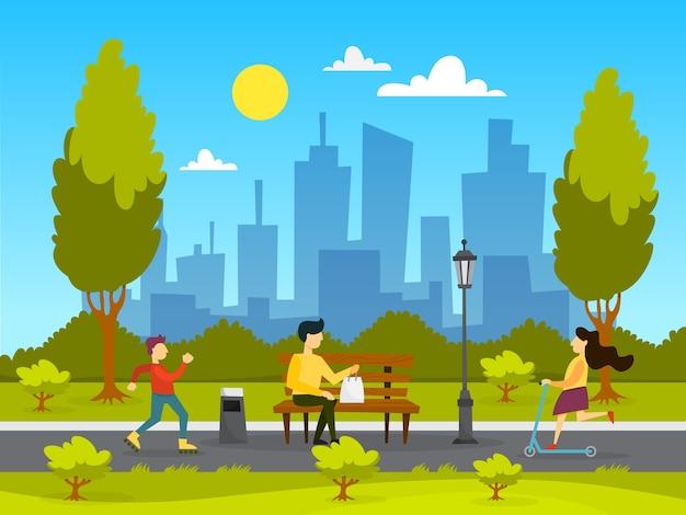 Люди в общественном парке. расслабляясь и играя