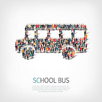 Люди в форме школьного автобуса