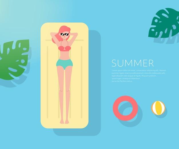 여름 휴가 배경에서 사람들.