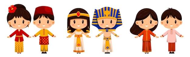 전통 의상을 입은 사람들. 국제 복장은 전 세계 사람들의 문화를 나타냅니다.