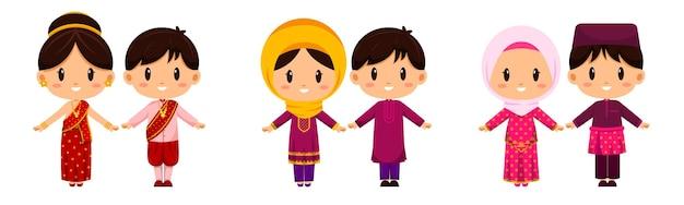 Люди в традиционной одежде. международная одежда представляет культуру народов всего мира.