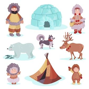전통적인 에스키모 사람들과 북극 동물 세트, 멀리 북쪽 다채로운 삽화의 생활 사람들