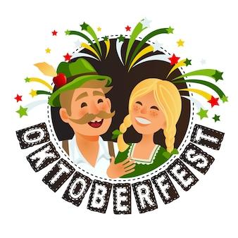 People in traditional german bavarian costume holding beer mugs oktoberfest cartoon