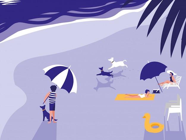 Люди в тропическом пляже