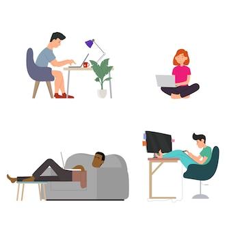 Люди в разных позах работают удаленно за компьютером. иллюстрация