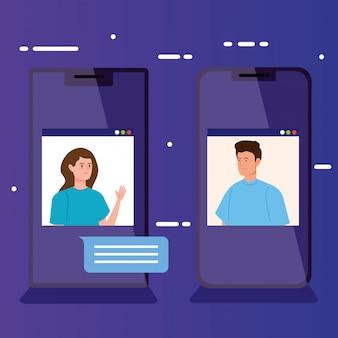 スマートフォンでのビデオ会議の人々