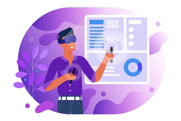 가상 현실 그림에서 사람들입니다. vr 안경 헤드셋 및 디지털 장치에서 만화 플랫 맨 플레이어 캐릭터가 게임을하고 새로운 실제 경험을합니다. 미래 기술 흰색 절연