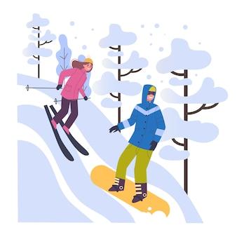 Люди в теплой одежде занимаются зимними видами спорта. иллюстрация людей в лыжах, сноуборде на горнолыжном курорте. зимний отдых на свежем воздухе. иллюстрация