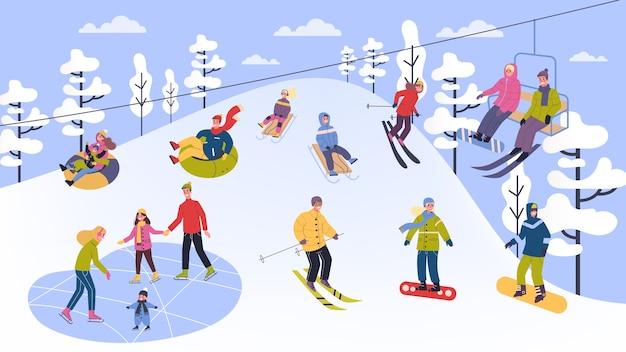 Люди в теплой одежде занимаются зимними видами спорта. иллюстрация людей в лыжах, сноуборде, коньках и санях. зимний отдых на свежем воздухе с семьей. иллюстрация