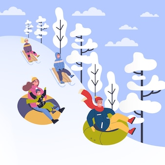 Люди в теплой одежде занимаются зимними видами спорта. иллюстрация людей в санях и тюбингах. зимний отдых на свежем воздухе с семьей. иллюстрация