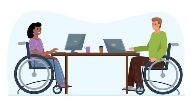 車椅子の人はオフィスで働いています