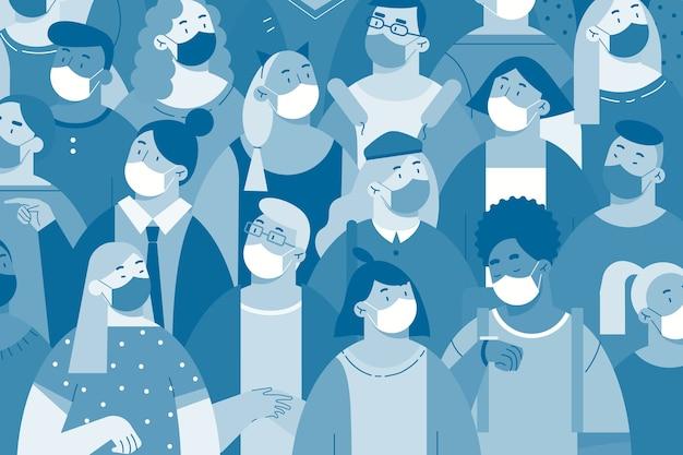 白いフェイスマスクのコンセプトの人々。一緒に立っている保護医療呼吸器を身に着けている男性と女性のキャラクターの群衆