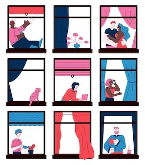 孤立したスケッチ漫画イラストのウィンドウフレームセットの人々