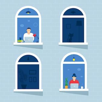 窓の家の人々は部屋やアパートの外を見て、ラップトップで作業します。コンセプトの人々は家に座って、仕事をし、勉強し、休憩します。自宅隔離。封鎖。
