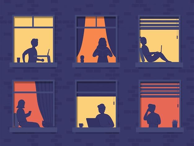 Люди в окнах дома выглядывают из комнаты или квартиры, работают на ноутбуке, разговаривают по телефону, читают книги, бегут по беговой дорожке. концепт люди сидят дома вечером, работают, учатся и отдыхают.