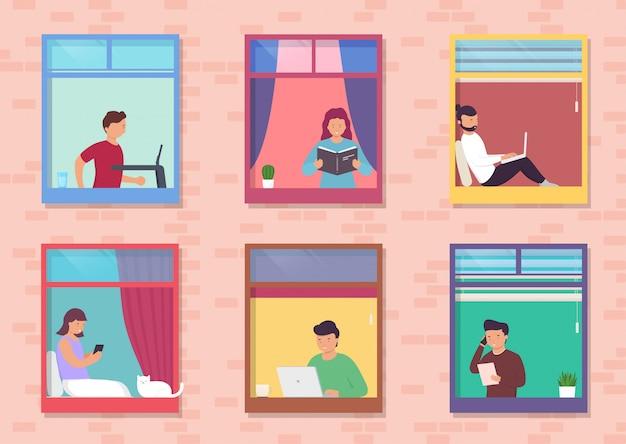 Люди в окнах дома выглядывают из комнаты или квартиры, работают на ноутбуке, разговаривают по телефону, читают книги, бегут по беговой дорожке. концепт люди сидят дома, работают, учатся и отдыхают.