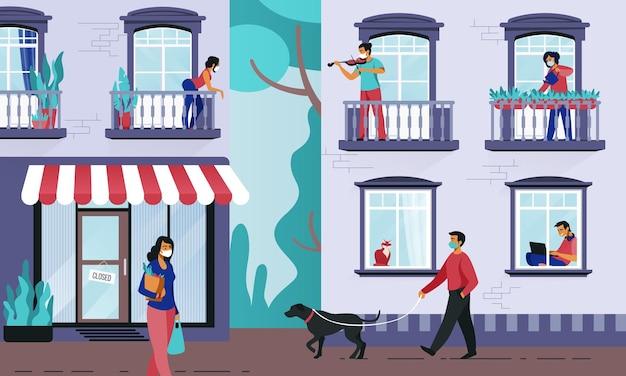 Люди в окнах. люди на карантине в своих квартирах, люди на улицах в медицинских масках, предотвращающие коронавирус. векторные цветные иллюстрации соседей, оставаясь дома