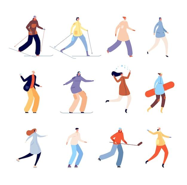 冬服を着た人。都会の男性が歩いて、孤立した寒い季節の活動。通りに行く都市の人、女性の服を着たコートのベクトル図です。レジャーアウトドア、スノーボードスキーと漫画のキャラクター