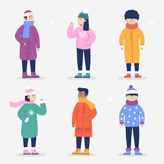 冬の居心地の良い服の人々セット