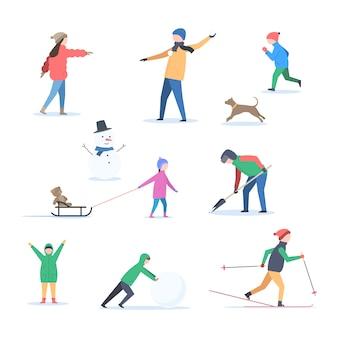 Люди зимой на открытом воздухе
